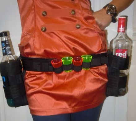 Shot Glass Waist Worn Belt with 1 Standard Bottle Holder & 1 Square Bottle Holder